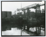 Locomotive crane wreck at blast furnace