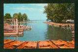 Indian Lake White Cottage Boats Postcard