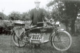 Ferd Oberhaus with his new Henderson motorcycle