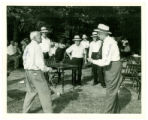 Old Timer's Picnic at Cranes Woods.   Mike Gregor and Mr. Goodwillie (in mock fight).
