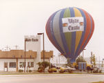 Exterior view of White Castle number 31 and hot air balloon, Cincinnati, Ohio
