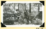 Fort Hill, making clapboards for shelter photograph