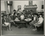 Yvonne Walker-Taylor and a group of unidentified Wilberforce University students at Carnegie...