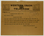 Western Union Telegram sent to Ada Young from George Frazier Miller in regards to the death of...
