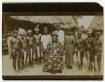 Photograph of a Liberian King and his court in a village in Liberia, Africa