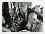 Roswell Garst, Nikita Khrushchev and Adlai Stevenson lunching at Garst farm