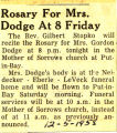 Rosary for Mrs. Dodge at 8 Friday