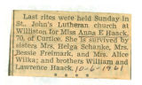 Obituary of Anna E. Haack