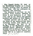 Obituary of Mrs. Donald Jordan