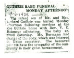 Guthrie Baby Funeral Monday Afternoon