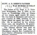 Supt. A.O. Dehn's Father Was Buried Sunday
