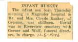 Infant Huskey Dies
