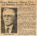 Henry Bergman, Elmore Civic and Business Leader, 85 Today