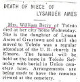 Death of Niece of Lysander Ames