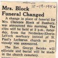 Mrs. Block Funeral Changed