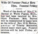 Wife of Former Pastor Here Dies, Funeral Friday