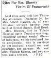 Rites for Mrs. Blausey Victim of Pneumonia