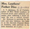 Mrs. Leathers' Father Dies