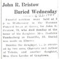 John R. Bristow Buried Wednesday