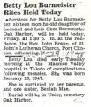 Betty Lou Burmeister Rites Held Today