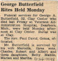 George Butterfield Rites Held Monday