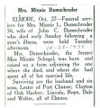 Obituary of Mrs. Minnie Damschroder