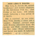 The Obituary of Miss Lena A. Davids