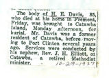 The Obituary of H. E. Davis