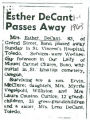 Esther DeCant Passes Away