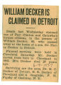 William Decker is Claimed in Detroit