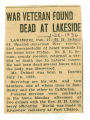 War Veteran Found Dead at Lakeside
