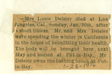 The Obituary of Mrs. Louis Deisler