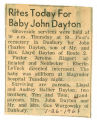 Rites Today for Baby John Dayton