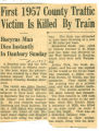 First 1957 County Traffic Victim is Killed by Train