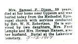 Obituary of Mrs. Samuel P. Dixon