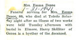 The Obituary of Emma Desoe