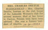 The Obituary of Mrs. Charles Deuble