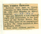 The Obituary of Mrs. Fahda DeWood