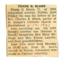 The Obituary of Frank H. Blank