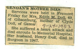Genoan's Mother Dies