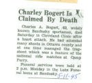 Charley Bogert is Claimed by Death