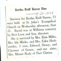 Bertha Reiff Burow Dies
