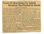 Years of Searching for Island Resident Has Ended in Death