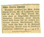 Mrs. Paul Dress Dies