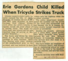 Erie Gardens Child Killed When Tricycle Strikes Truck
