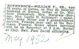 The Obituary of William F. Dufenfock Sr.