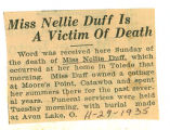 Miss Nellie Duff is a Victim of Death