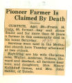 Pioneer Farmer is Claimed by Death