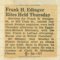 Frank H. Edinger Rites Held Thursday