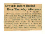 Edwards Infant Buried Here Thursday Afternoon